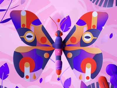 Colorful Butterfly insect butterfly design letter colors illustration 36days 3d 2d