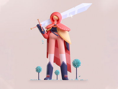 Knight Sword pink medieval knight sword design graphic illustration 3d 2d