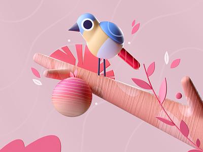 Birds & Fruit design bird plants colors graphic illustration 3d 2d