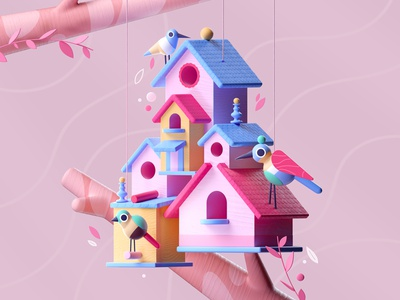 The Birds House birds house pink architecture design colors illustration 3d 2d