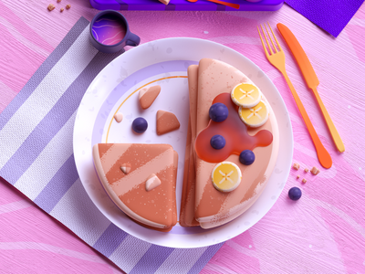 Breakfast Pancakes yummy pancakes breakfast food design colors illustration 3d 2d