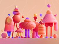 Microsoft Theme Illustration character cute illustraion microsoft branding colors graphic shape illustration 3d 2d