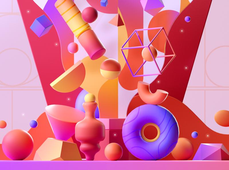 3D Colorful Shapes design shape illustration 3d 2d
