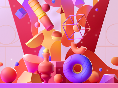 3D Colorful Shapes design shape illustration 3d 2d