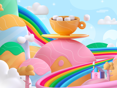 Rainbow Coffee space fun world cup coffee rainbow colors shape illustration 3d 2d