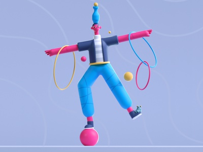 Balanced Character play fun pattern characterdesign character colors shape illustration 3d 2d