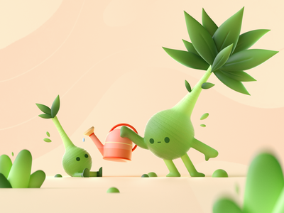Cute Plants character plants graphic colors shape illustration 3d 2d