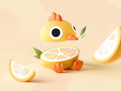 Chicken Lemon food lemon bird chicken graphic colors shape illustration 3d 2d