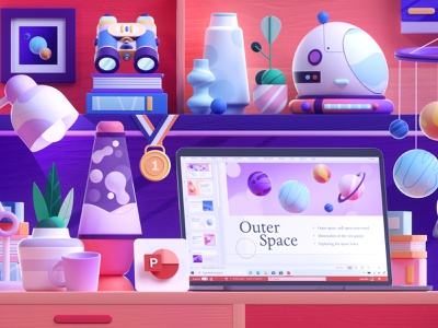 Microsoft 365 - 3D Space Desk laptop ui space desk colors shape illustration 3d 2d