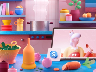 Cooking with Grandma microsoft skype grandma kitchen cooking graphic colors shape illustration 3d 2d