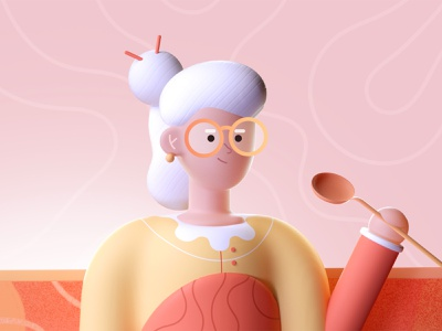 Grandma Cooking 3d art cook grandma character colors shape illustration 3d 2d