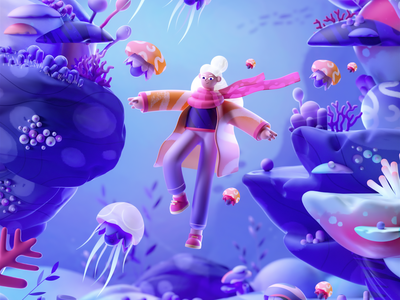 Jellyfish Girl underwater girl water design graphic colors shape illustration 3d 2d