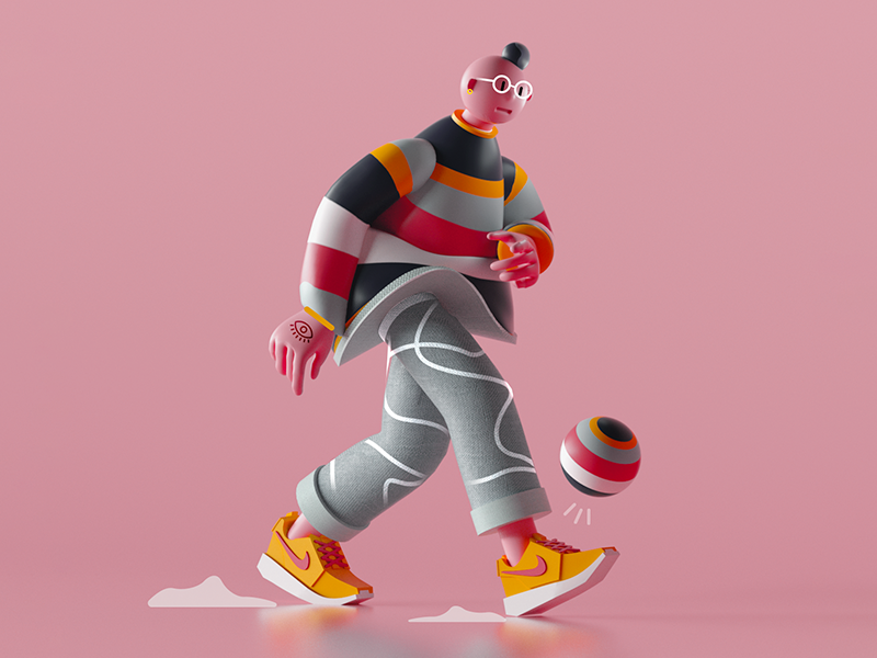 Walking Character colors pattern design character nike 3d