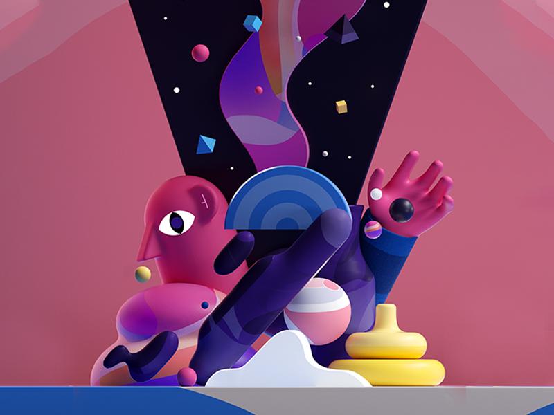 2 invites graphic colors design illustration letter 36days shape 3d 2d