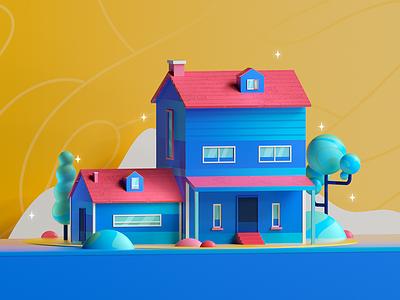 Blue House house design colors architecture graphic illustration 3d 2d