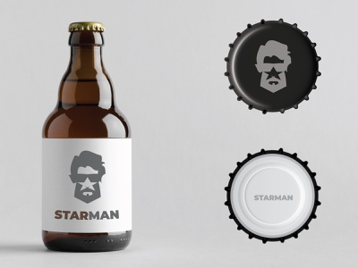 Beer product with STARMAN logo design product branding logo man star beer