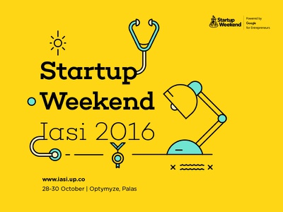 Startup Weekend Iasi 2016 event medal line outline yellow iasi weekend startup illustration