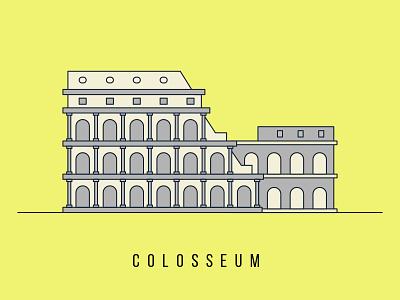 Colosseum Illustration yellow stroke outline illustration rome colosseum