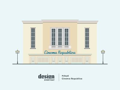 Cinema Republica design iasi old building architecture cinema ilustration