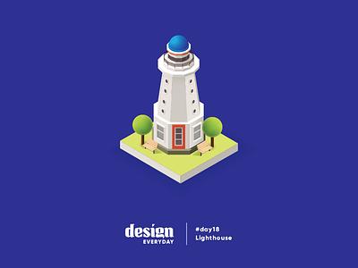 Lighthouse Illustration isometric lighthouse illustration design