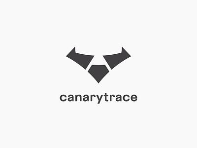 Canarytrace logo qa testing frontend performance web silhouette bird orange typography brand logotype