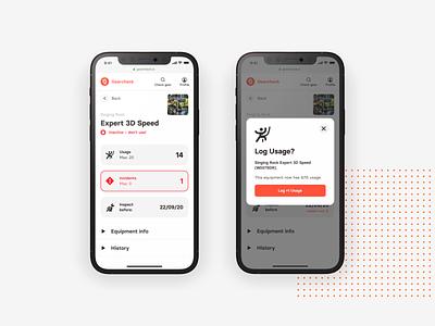 Gearcheck – UX/UI app website gear inspection climbing