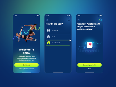 Fitify – Onboarding Visual Update identity light native typography air plane workout branding design system mobile ui mobile app mobile fitness app