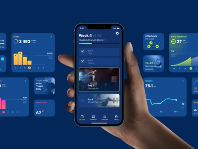 Fitify Preview brand refresh redesign exercise gym calories steps dark mode app plan workout health statistics data fitness ui
