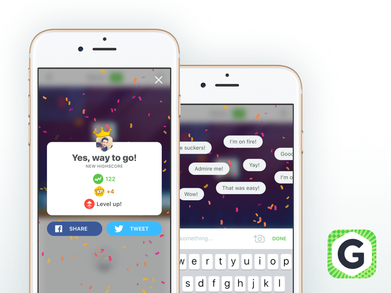 Gamee New Sharing Screens tweet share flow achievement success ui ux app