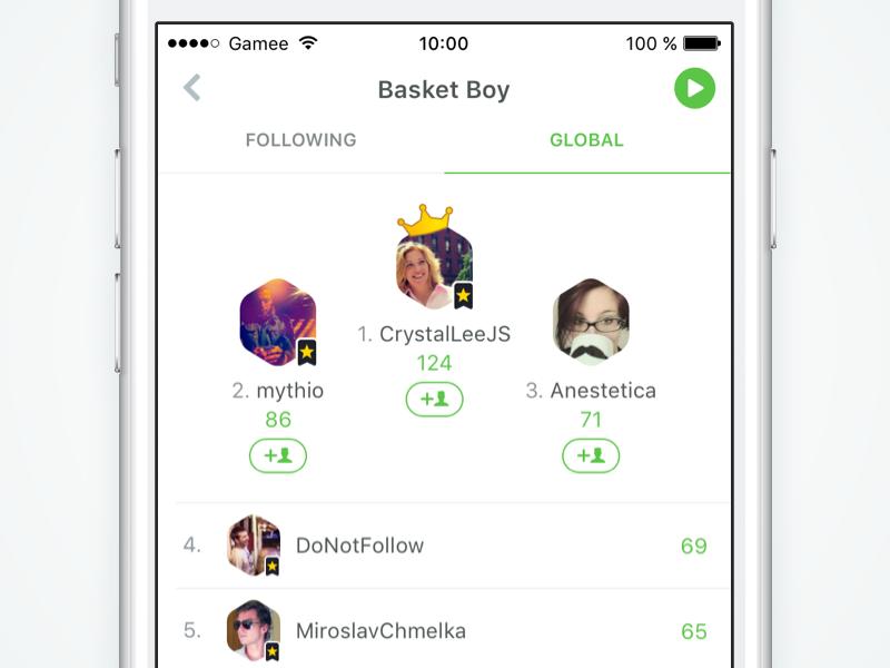 Updated Rankings in GAMEE medal table winner leaderboard rank ui ux mobile