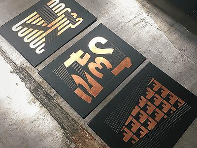 Something school typography handmade asphalt metal press