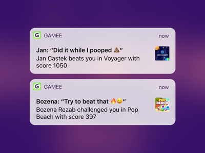 GAMEE Challenges and Rich Notifications fun game network social app x iphone push activity 11 ios