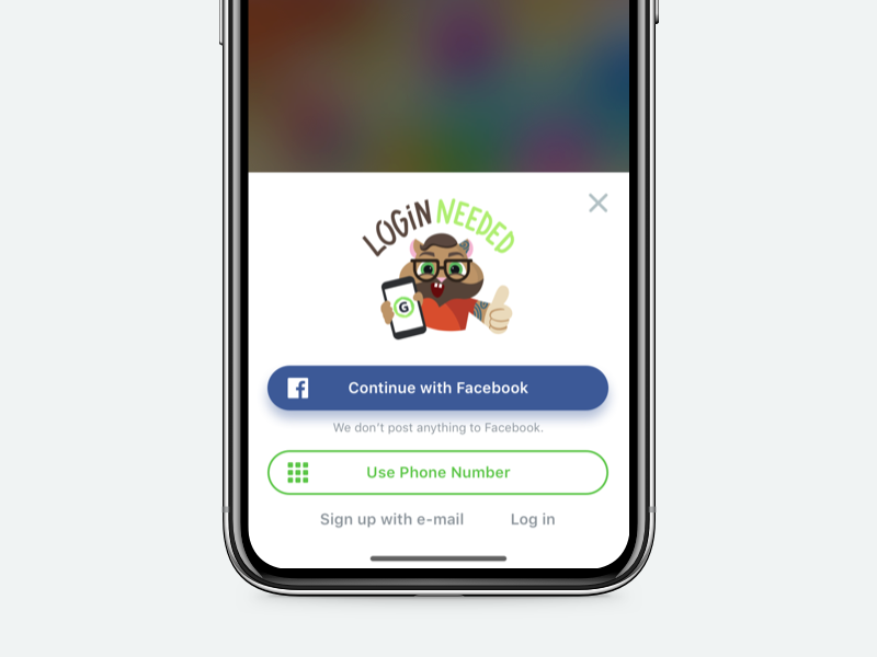 GAMEE – Login Prompt iphone x social network flow signup ios app