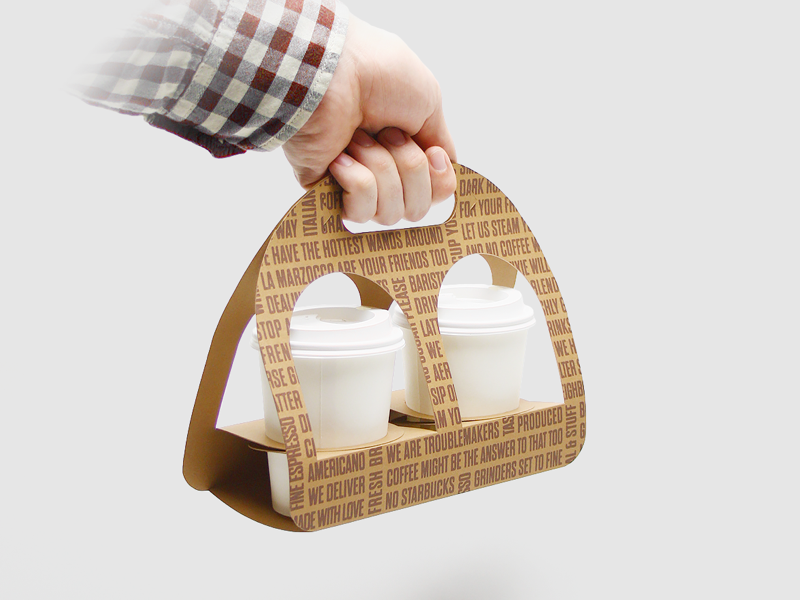 Coffee Cup Holder recycle eco paper cappuccino latte packaging