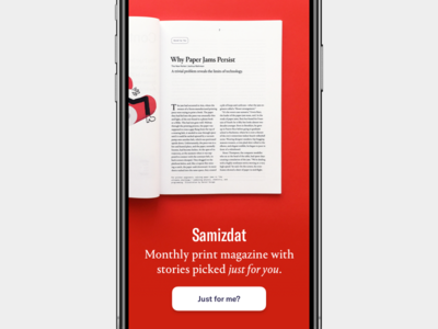 Samizdat 14 print digital magazine launch onboarding intro app