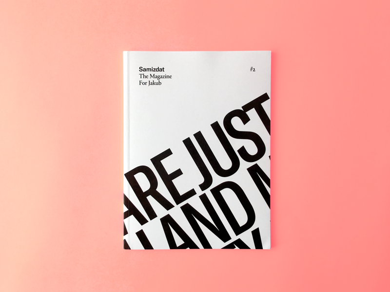 Samizdat 18 white and black minimal typography cover magazine