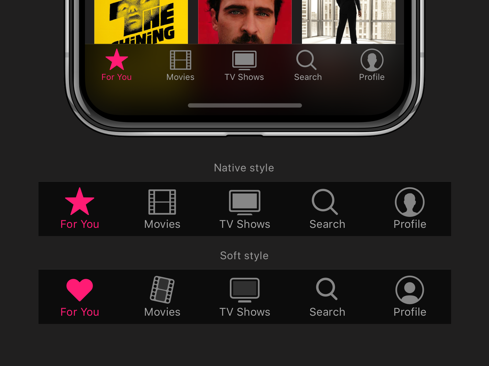 Streaming App Tab Bar Icons system rounded icon ios ui