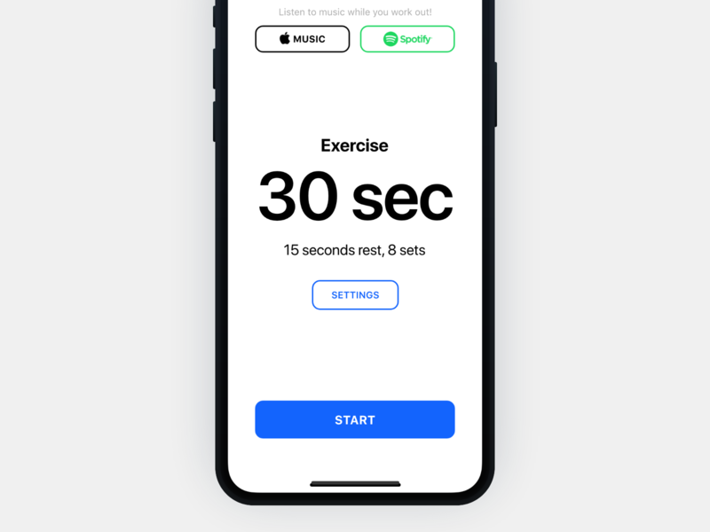Workout Timer App – Start iphone x music training gym sport native simple typography
