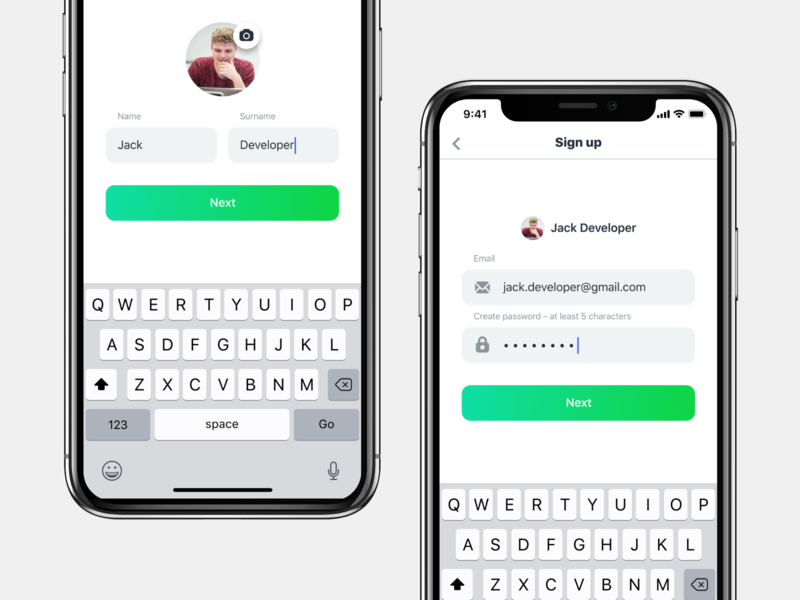Simple Sign Up user password email clean login signup social ux mobile app