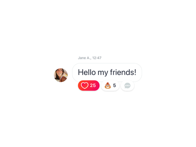 Post with Reactions emotion like heart poop post comment network react social