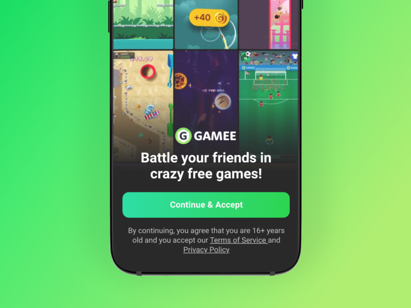 First launch screen in GAMEE videogame terms agree app intro video button signup login gdpr