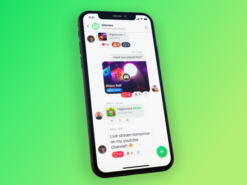 GAMEE – Stories ux wall reactions comments gaming post friends game feed social network app