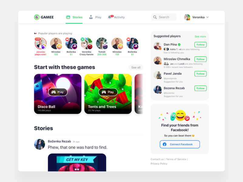 Desktop GAMEE connect wall feed search suggested stories game website profile notifications friends social gaming social network