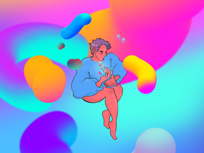 FLOATING vibrant colors fluid gradient colors illustration character design character artwork