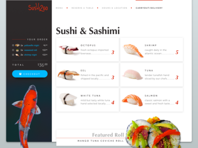 Sushi2Go — Carryout Menu Page seafood fish website ui sushi restaurant food ecommerce desktop cart carryout