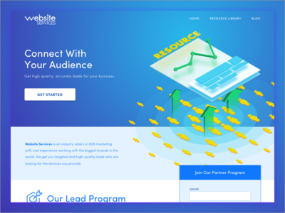 Lead Gen Landing Page blue landing page web ui landing isometric graph hero form leads illustration