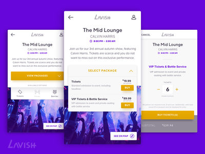 Luxury Entertainment App — Lavish (pt. 2) checkout entertainment ticketing ecommerce mobile app user interface ui design branding