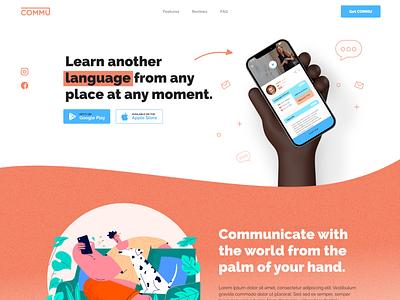 commu - landing page design website web logo app branding illustration uidesign ui