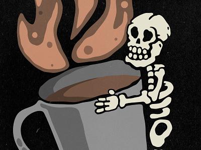 Skeleton with Huge Coffee Mug lowbrow retro cartoon mug coffee skeleton poster apparel tshirt illustration