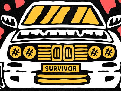 Deathroad lowbrow retro vintage cartoon headlights flames desert bimmer car illustration